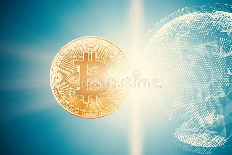 金bitcoin有明亮的背景 免版税库存照片