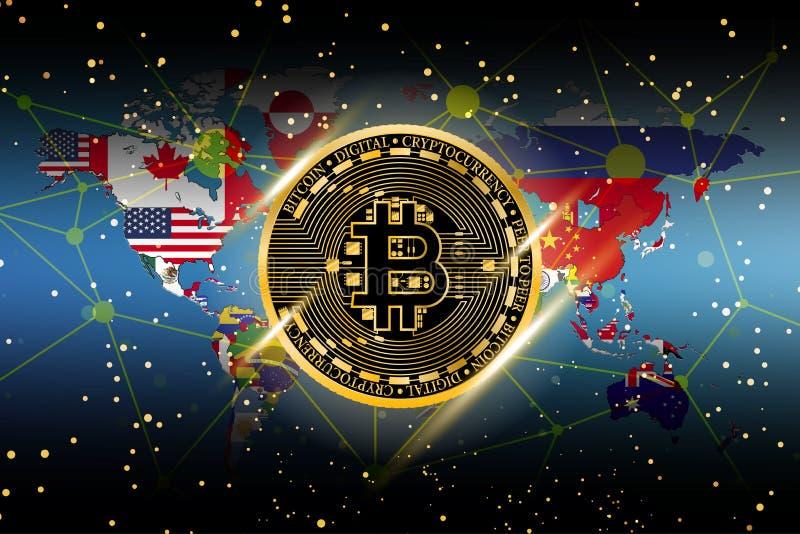 金bitcoin硬币的例证有在概念金钱批发价的世界地图背景 向量例证