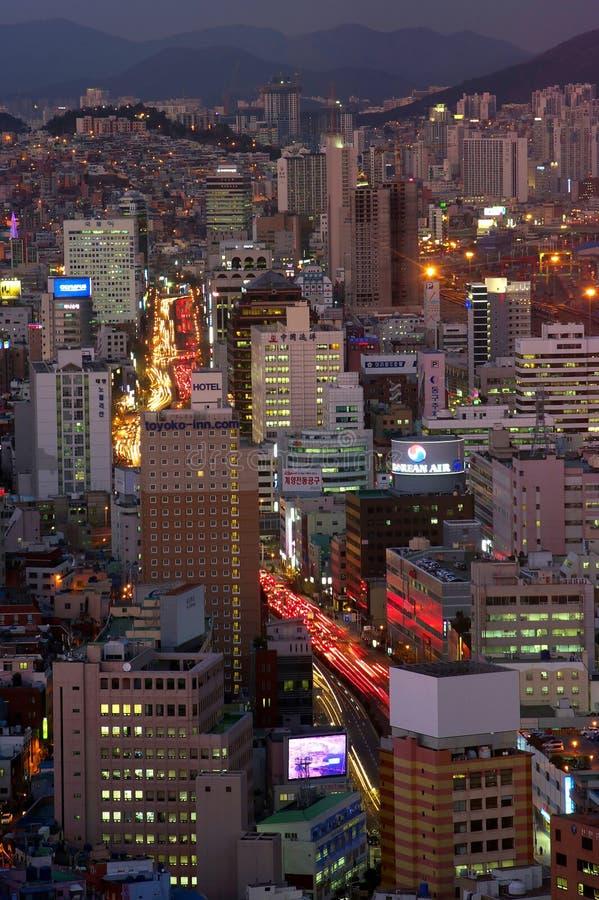 釜山市在晚上 图库摄影