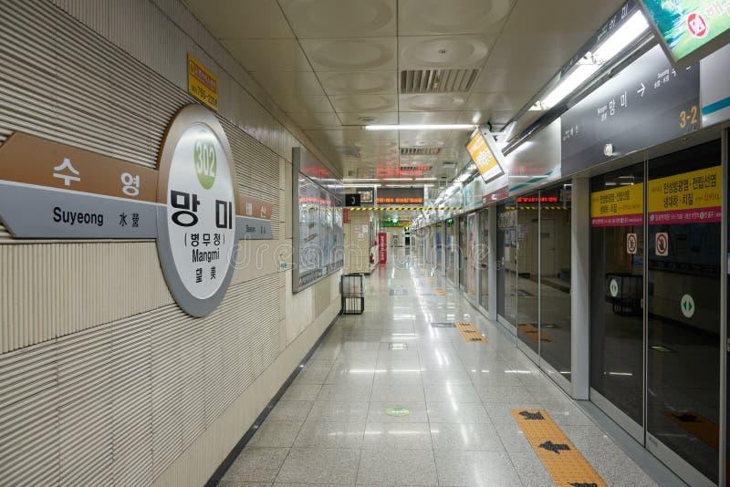 Download 釜山,韩国- 2015年9月19日:釜山地铁3的Mangmi驻地 编辑类照片 - 图片 包括有 旅行, 培训: 62530236