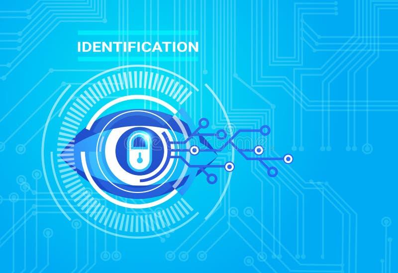鉴定系统视网膜扫描通入技术保护和安全概念 向量例证