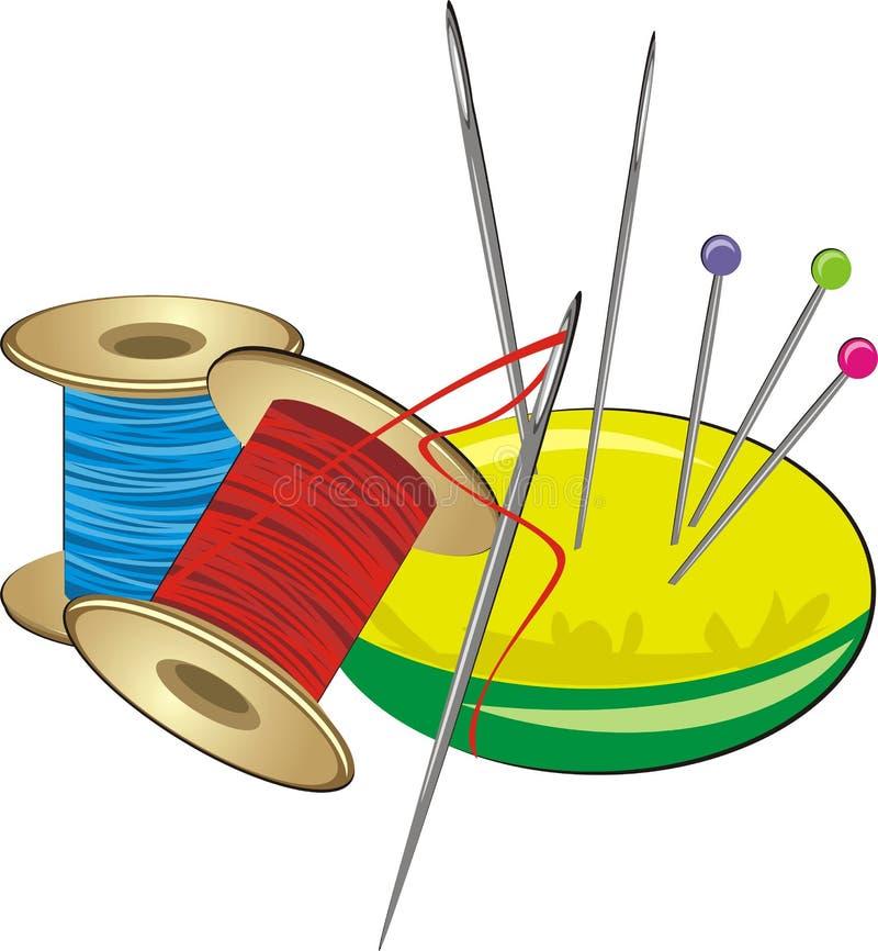 针枕头固定短管轴线程数 向量例证