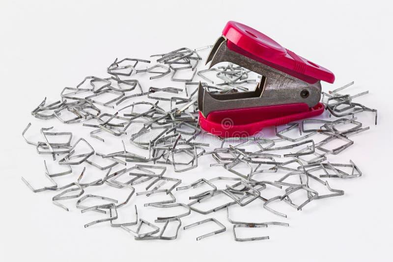 钉书针和去膜剂 库存照片