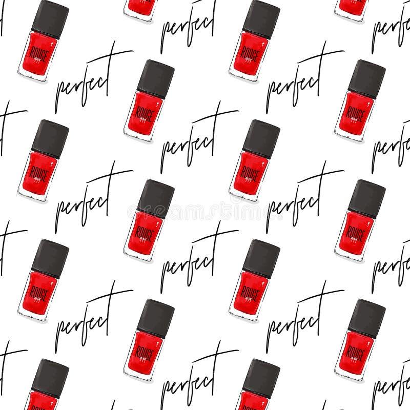 钉子艺术擦亮剂装饰 完善的盖子的传染媒介修指甲红色瓶 秀丽时尚套 妇女魅力豪华亮漆COS 向量例证