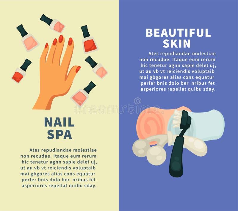 钉牢温泉和做法美丽的皮肤垂直横幅的 向量例证