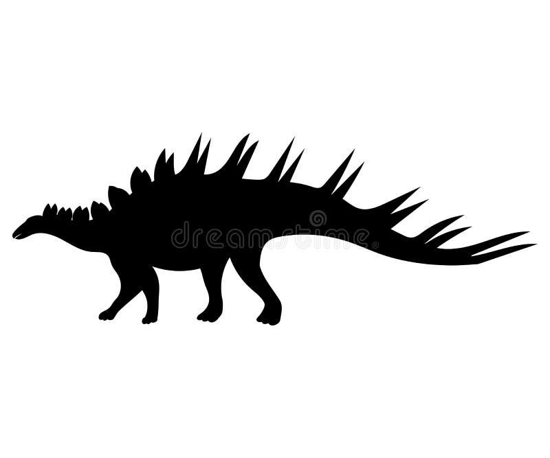 钉状龙剪影恐龙侏罗纪史前动物 库存例证