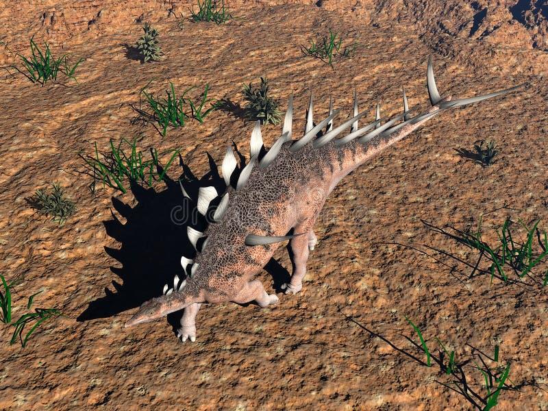 钉状龙恐龙在沙漠- 3D回报 皇族释放例证
