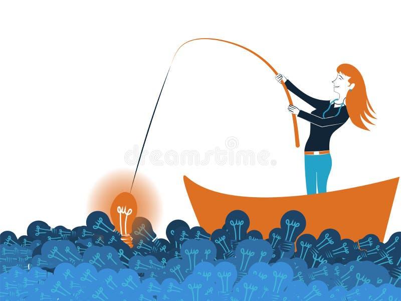 钓鱼一个好想法的女商人在海 向量例证