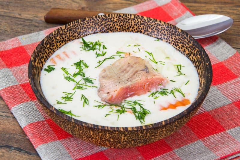 钓鱼与三文鱼的奶油色汤在木碗 库存照片