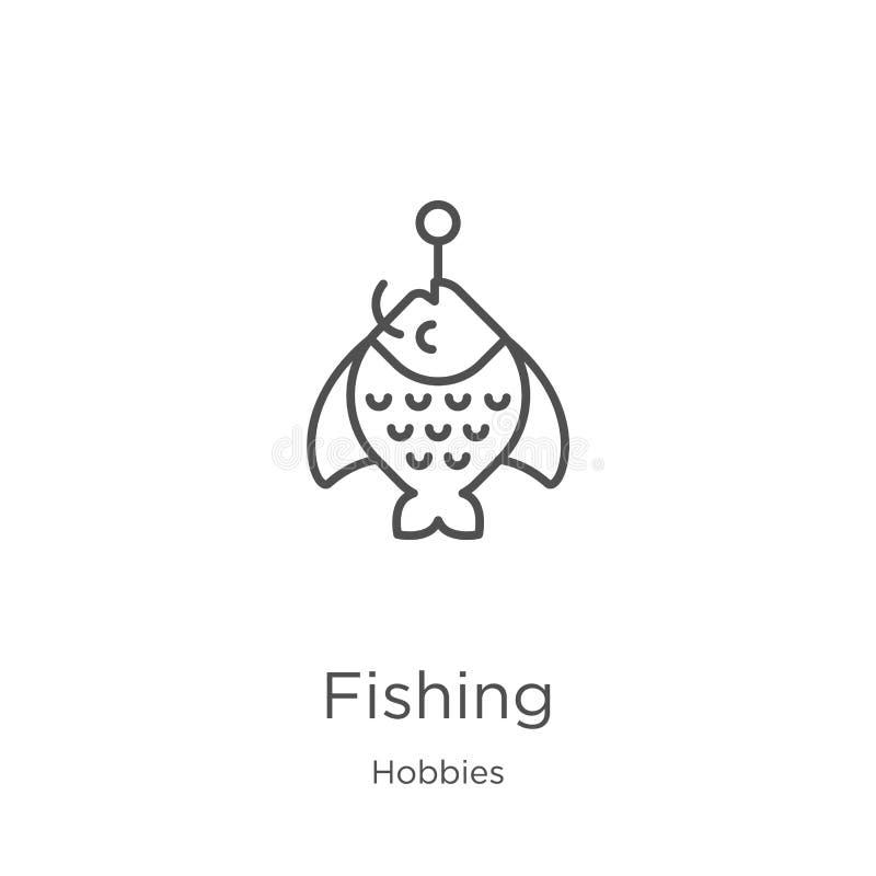 钓鱼从爱好汇集的象传染媒介 钓鱼概述象传染媒介例证的稀薄的线 概述,钓鱼象的稀薄的线 向量例证