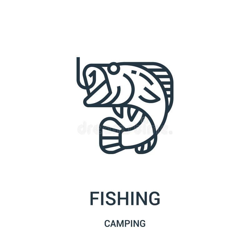 钓鱼从野营的收藏的象传染媒介 钓鱼概述象传染媒介例证的稀薄的线 r 库存例证