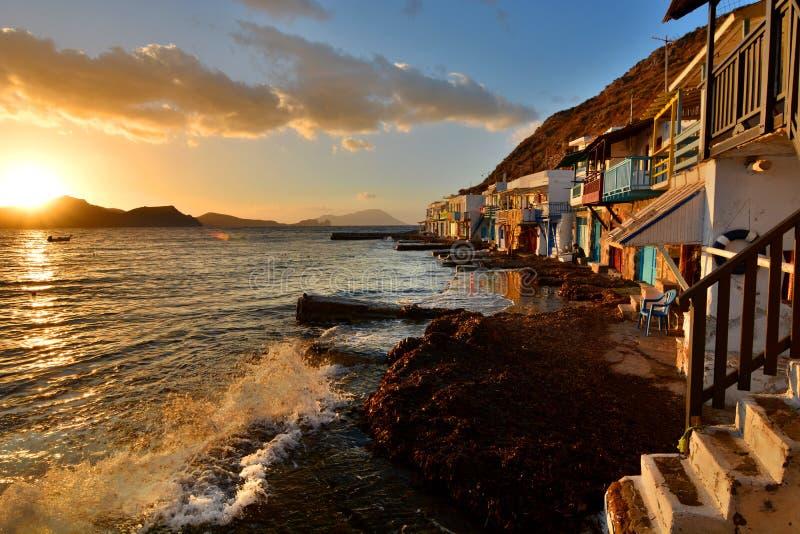 钓鱼传统村庄 Klima,芦粟 基克拉泽斯海岛 希腊 库存照片