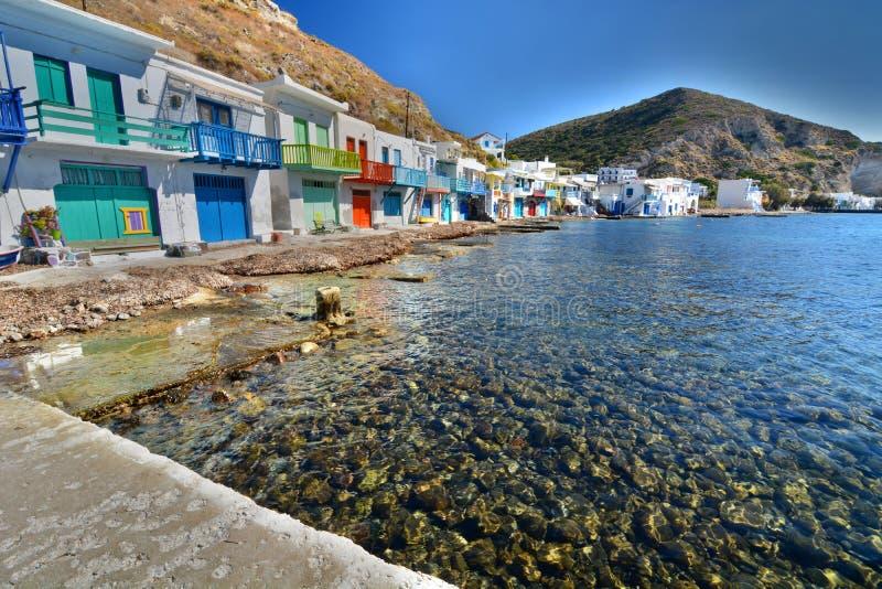 钓鱼传统村庄 Klima,芦粟 基克拉泽斯海岛 希腊 库存图片