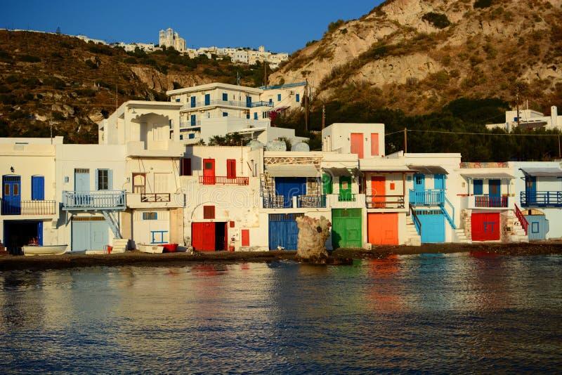钓鱼传统村庄 Klima,芦粟 基克拉泽斯海岛 希腊 图库摄影