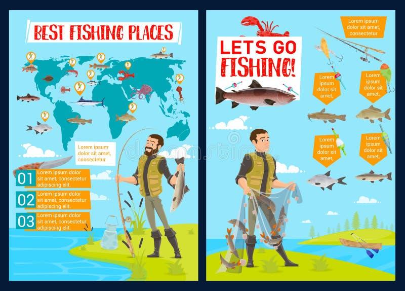 钓鱼体育鱼捕获infographic与图 向量例证