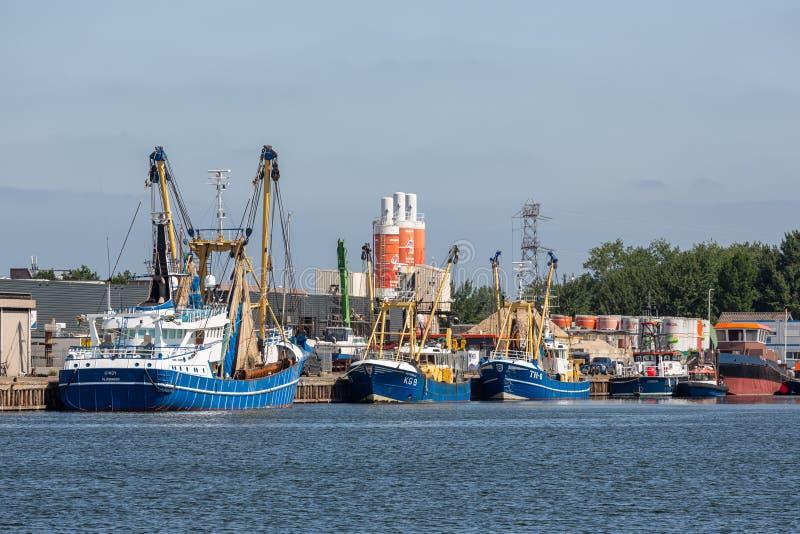 钓鱼切削刀在港口弗利辛恩,荷兰 库存图片