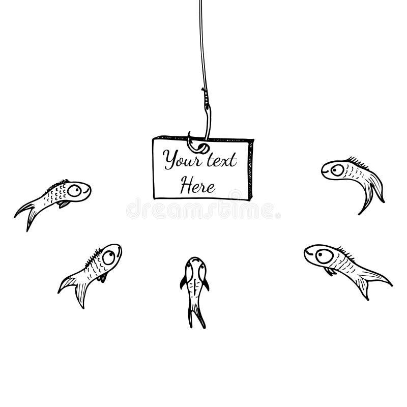 钓鱼勾子的板,任何目的了不起的设计 构思设计的例证 r 钓鱼竿 库存例证