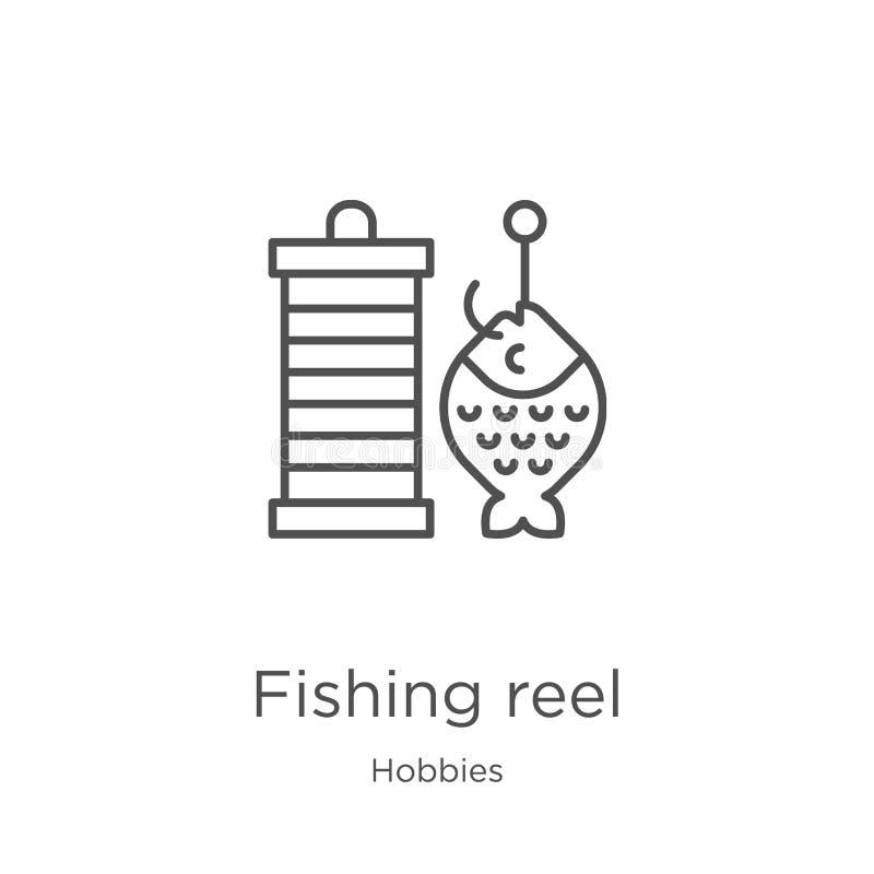 钓鱼卷轴从爱好汇集的象传染媒介 钓鱼卷轴概述象传染媒介例证的稀薄的线 r 库存例证