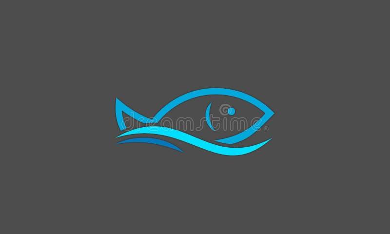 钓鱼商标传染媒介,与波浪象概念模板的线型 向量例证