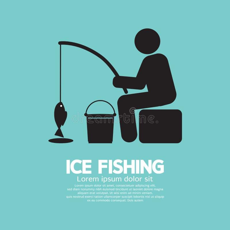 钓鱼图形符号的冰 向量例证