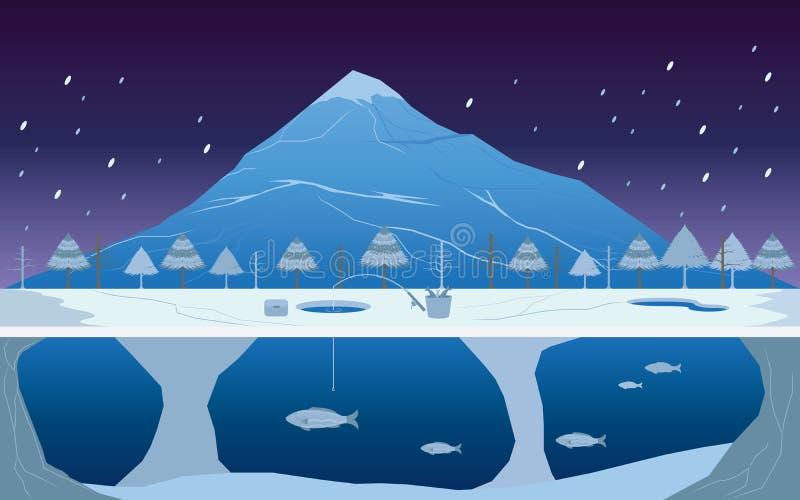 钓鱼在冬天风景的冰 皇族释放例证