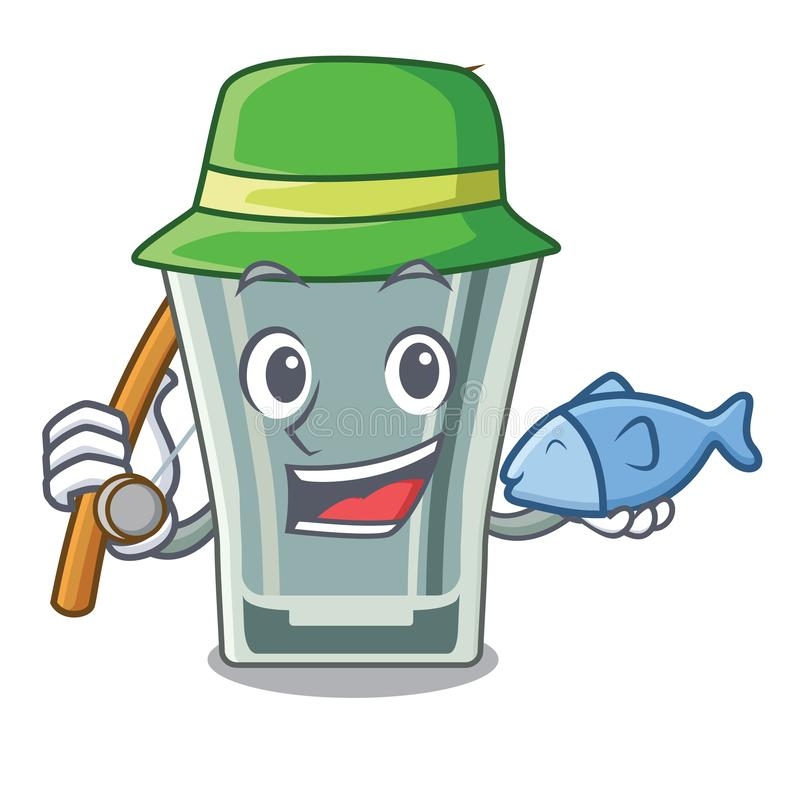 钓鱼在冰箱的小玻璃字符 库存例证