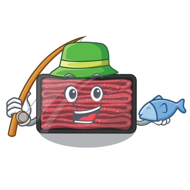 钓鱼在动画片冰箱的肉末 皇族释放例证