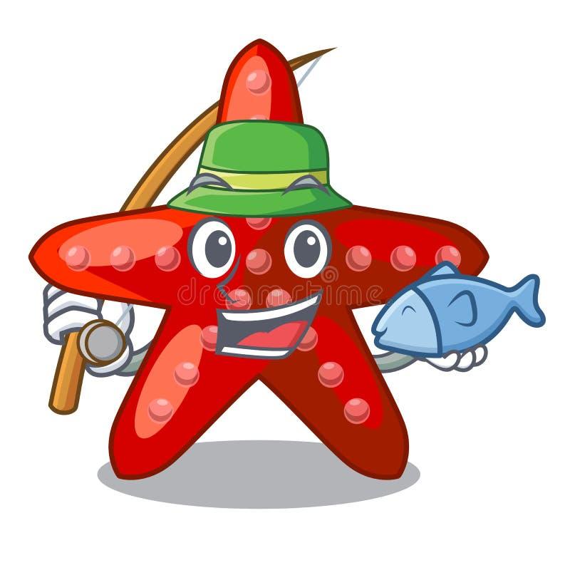 钓鱼在动画片形状的红色海星 向量例证