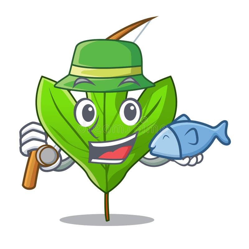 钓鱼在吉祥人罐的黄樟叶子 向量例证