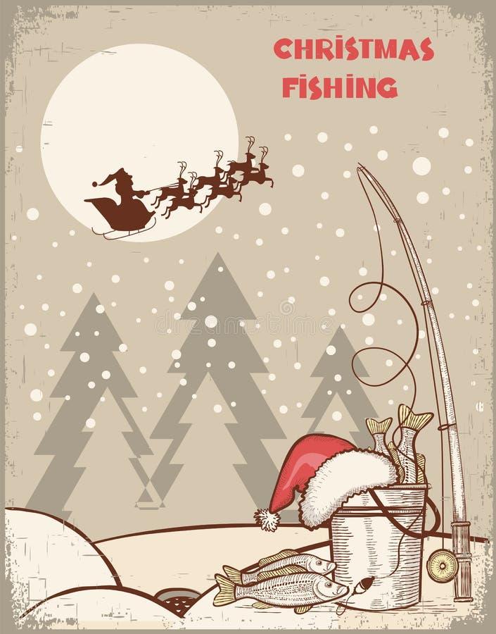 钓鱼在圣诞夜。葡萄酒冬天图象wi 皇族释放例证