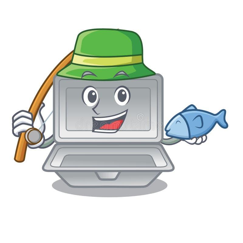 钓鱼在字符框的开放聚苯乙烯泡沫塑料 皇族释放例证
