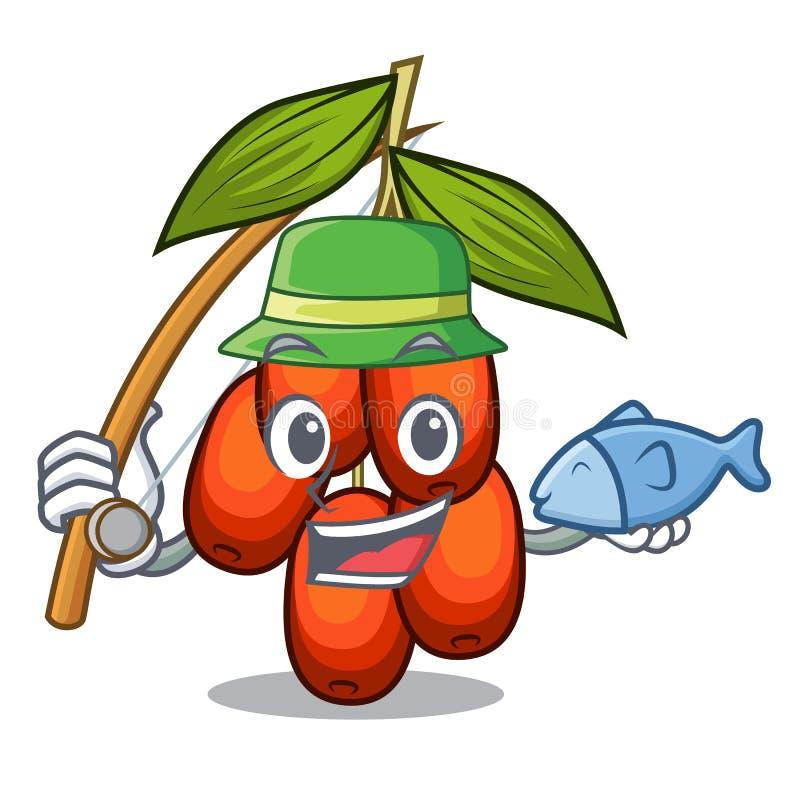 钓鱼在形状吉祥人的枣果子 库存例证