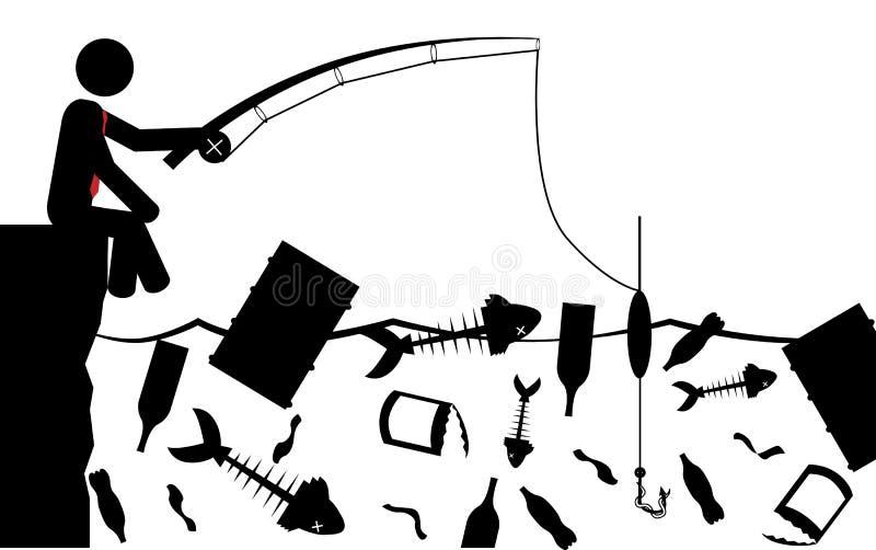 钓鱼在污染 皇族释放例证