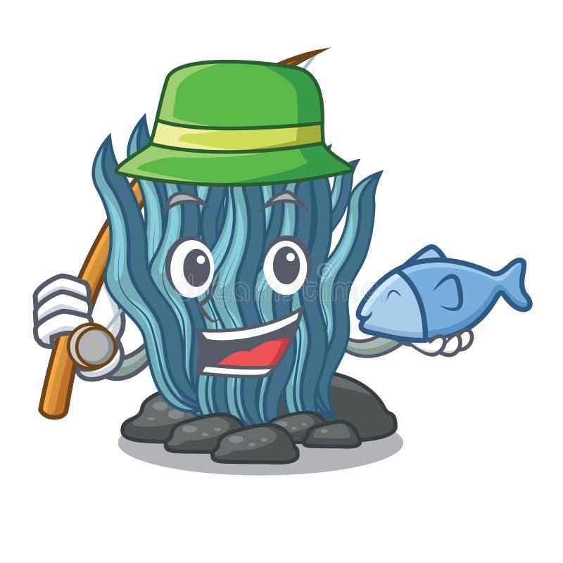 钓鱼在海水下的蓝色海草动画片 库存例证