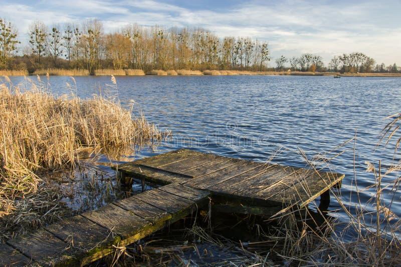 钓鱼在湖Stankow的平台波兰东部、波浪和树的 库存照片