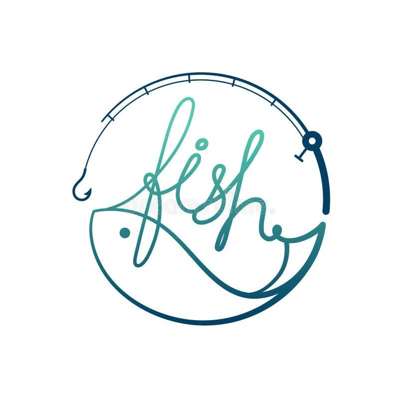 钓鱼在钓鱼竿框架圈子形状,商标象布景绿色和深蓝梯度彩色插图 向量例证