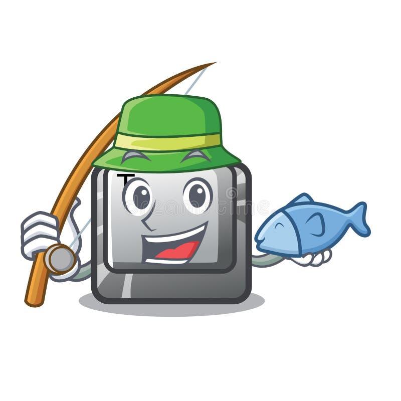 钓鱼在键盘动画片的按钮T 向量例证