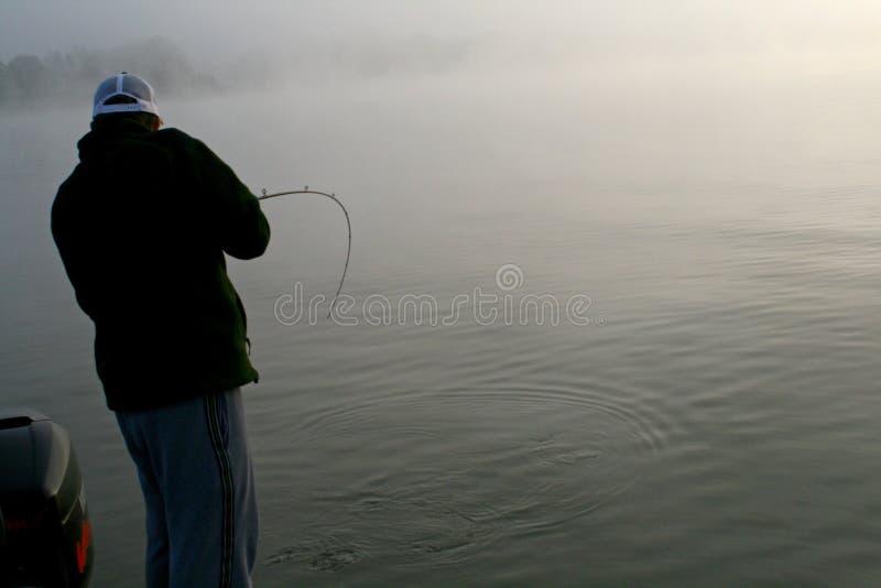 钓鱼在雾 免版税图库摄影