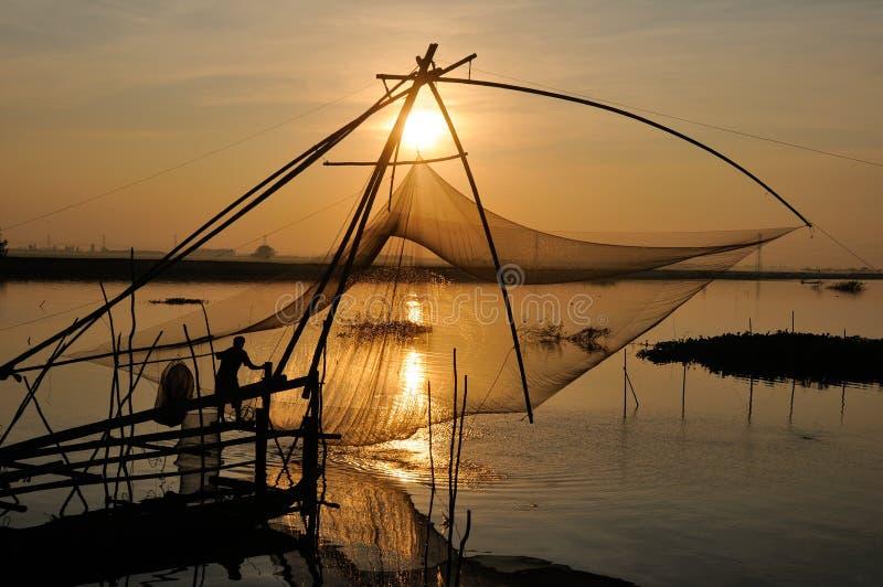 钓鱼在洪水季节 库存图片