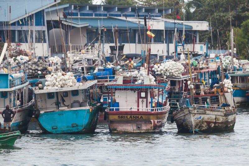 钓鱼在Negombo著名港口的小船  库存照片