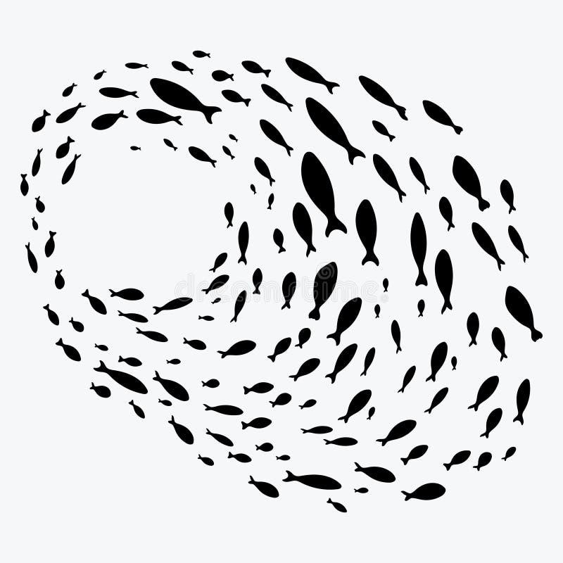 钓鱼学校 一个小组剪影鱼在圈子游泳 海洋生物 也corel凹道例证向量 纹身花刺 向量例证