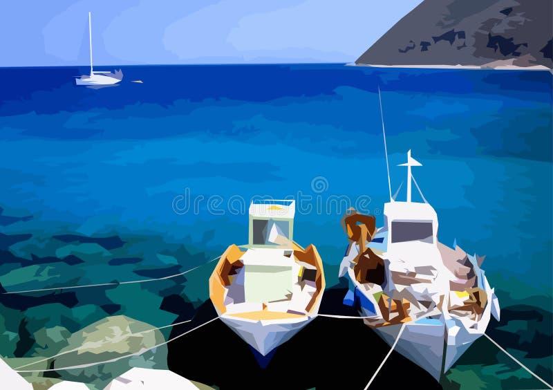 钓鱼希腊的小船说明 皇族释放例证
