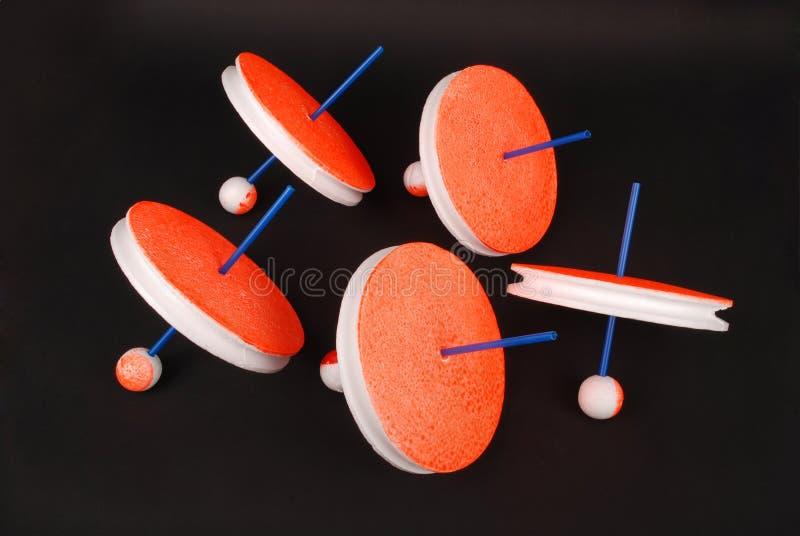钓鱼手工制造的供应 钓鱼的圆的短管轴 圆的聚苯乙烯泡沫塑料缠绕钓鱼的卷轴 库存图片