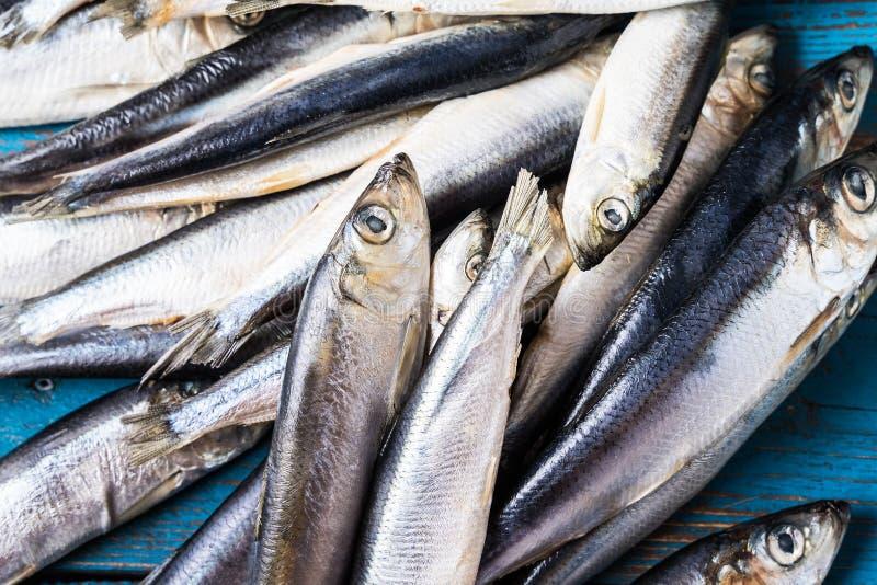 钓鱼模式 鲱鱼在老蓝色木背景钓鱼 免版税库存照片