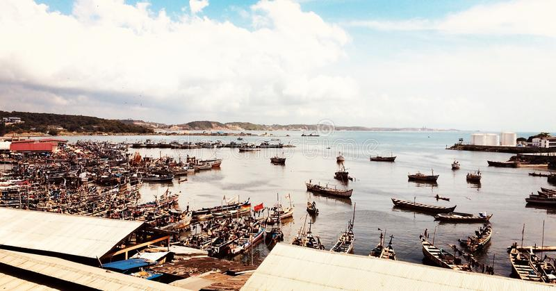钓鱼海港 免版税库存图片