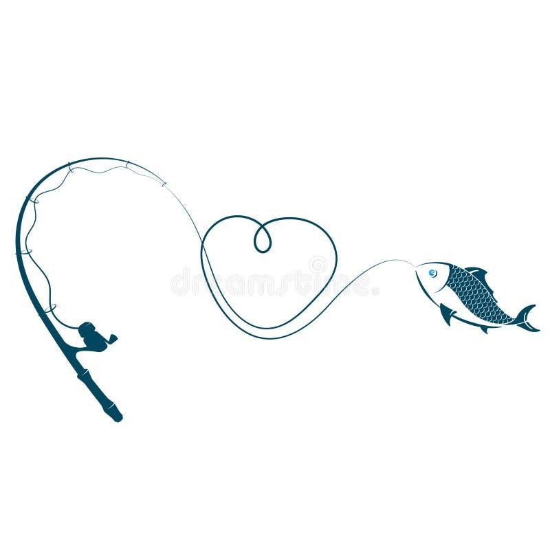 钓鱼竿心脏和鱼 库存例证