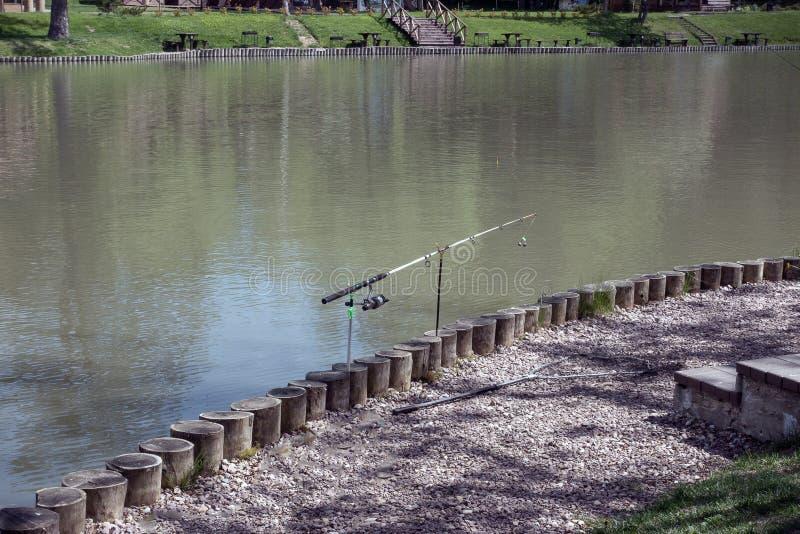 钓鱼竿池塘 库存图片