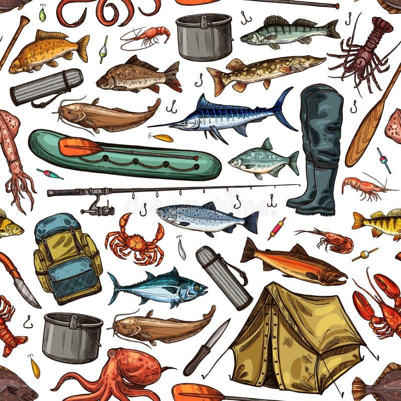 钓鱼竿,鱼,渔夫小船无缝的样式 向量例证