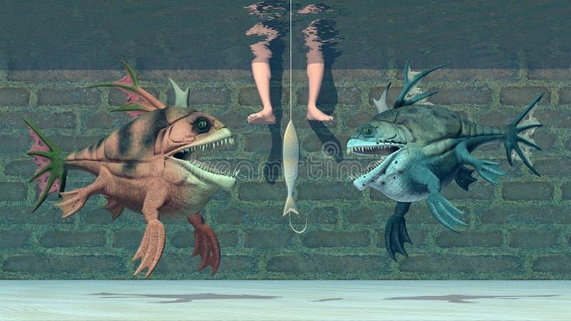 钓鱼者、鱼饵和怪异鱼 皇族释放例证