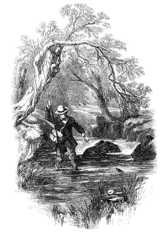 钓鱼者用假蝇钓鱼 库存例证